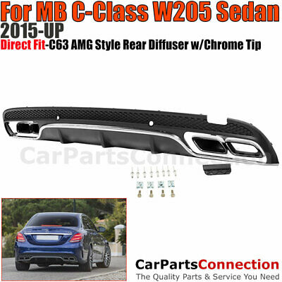 Benz c63 AMG Style Rear Diffuser 15-17 C-Class W205 with Chrome Muffler Quad Tip