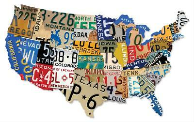 USA License Plate Map  Vintage Steel 35 in. Width 21 in. Height