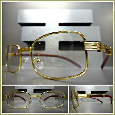 Men's CONTEMPORARY Clear Lens EYE GLASSES Small Gold & Wood Wooden Effect Frame