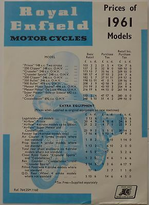 Royal Enfield Motor Cycles 1961 Price List