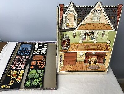 Vintage 1970's Holly Hobbie Magic Glow Doll House Colorforms 3D Play Set