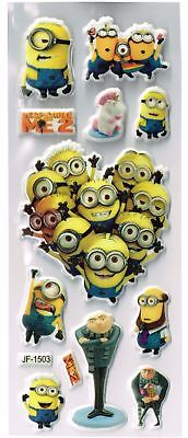 3 x Sheets Puffy DESPICABLE ME MINION Stickers Ideal for Scrapbooks - Party Bags
