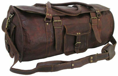 """New Genuine Brown Leather 24"""" Sport Duffle Travel Gym Weekend Overnight Bag"""