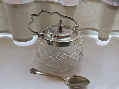 Lovely Antique Silver Plated And Blown Cut Glass Jam/honey Pot With Spoon