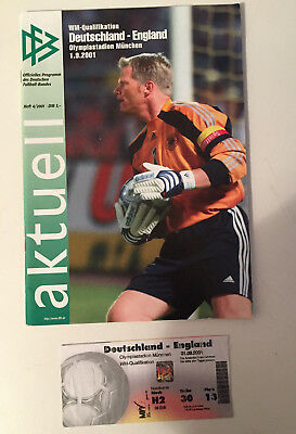 GERMANY v ENGLAND: WORLD CUP QUALIFIER 2001, 1-5 RESULT PROGRAMME & MATCH TICKET