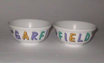 1978 GARFIELD w/TOP HAT & WAND Vintage PAIR of MELAMINE WARE Rice BOWLS