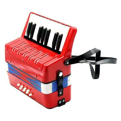 Music Instrument Accordion 17 Keys Button Piano Toys Kids Christmas Gift Red