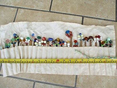 Vintage Cotton Roll & 22 Wood / Glass Embroidery / Lace Bobbins