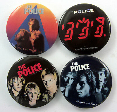 THE POLICE Large Button Badges 4 x The Police Pin Badges * STING *