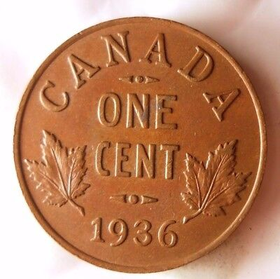 1936 CANADA CENT - Last Year of Series - FREE SHIP WORLDWIDE - HVCanada3