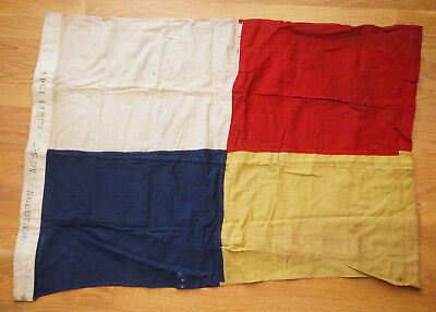 1944 VTG WWII US Warship Squadron SQUAD Signal Flag 3ft red white blue yellow