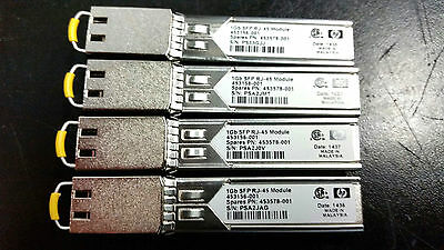 Lot of (4) HP 1Gb SFP RJ-45 Transceiver Modules - 453156-001, 453578-001 - Used