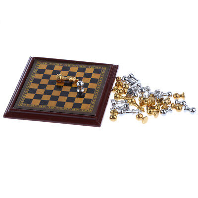 1:12 Dollhouse Miniature Metal Chess Set Silver And Gold Pretend Play
