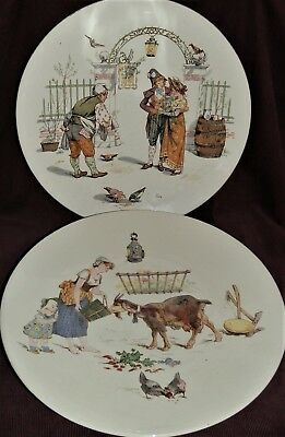 A Pair of French Utzschnieder Sarreguemines Faience Decorative Wall Plates c1880