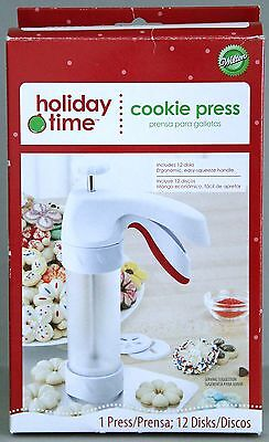 Wilton Holiday Time Cookie Press, 12 Disks, New in Box
