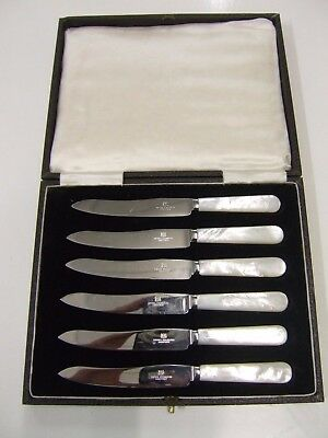 Vintage Cased Set of 6 Firths Sheffield Tea Knives real Mother of Pearl Handles