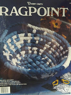 """Ragpoint 10"""" Rag Basket Kit by Vogart Crafts New In Package Blue & White"""