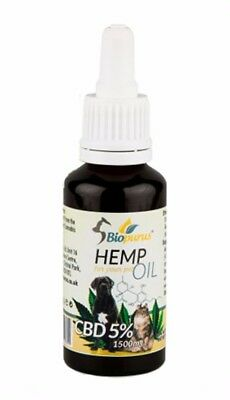 LARGE (30 ml = 1500 mg) Organic CBD Oil Drops for Pets (Cats, Dogs, Horses) UK