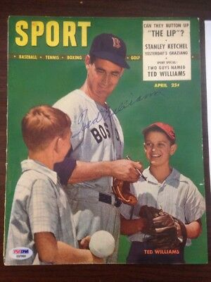 1948 Sport Magazine Signed Ted Williams PSA DNA certified