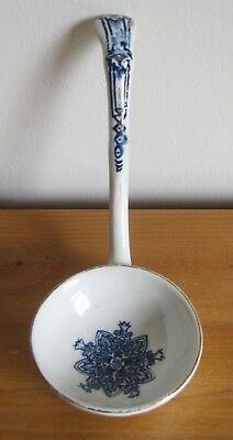 "Antique Blue and White with Gilt 19cm/7.5"" Glazed Earthenware Sauce Ladle"