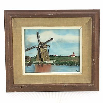 "String Painting Art Picture Windmill Country Farm 15"" x 13"" Wood Frame Vintage"