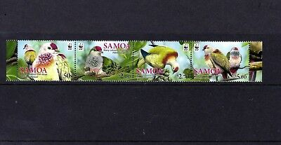 SAMOA 2011 Many coloured Fruit-Dove , strip of 4 MINT NH(Mtd in margin only)