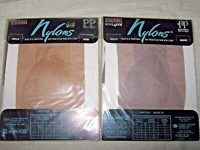 VINTAGE 80s 2 PAIRS PRETTY POLLY NYLONS WITH LYCRA SHERRY & SENSATION 6-8 SHOE