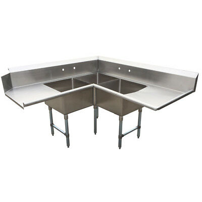 BK Resources Three Compartment Right-to-Left  Corner Soiled Dishtable