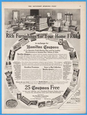 1913 Hamilton Coupons Rich Furnishings For Your Home Free Collector Print Ad