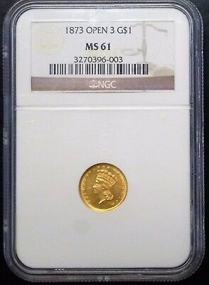 {Bjstamps}  1873 $1 Gold Open 3 Ngc Ms61
