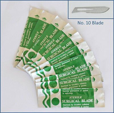 10pc Steel No. 10 Sealed Sterile Surgical Scalpel Blades for Handle #3, 5 Craft