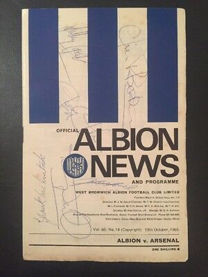 6 Arsenal Autographs from 1968 on a WBA away programme