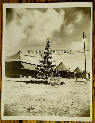 "4x5 B&W ""Merry Xmas Eniwetok""  WWII SeaBees vintage found photo w/inscription"