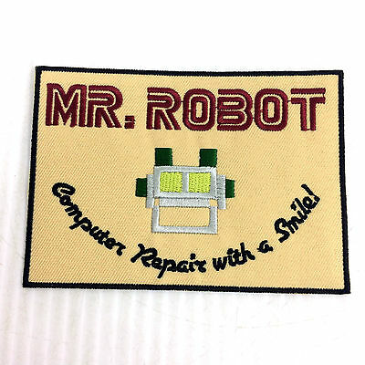 """Mr Robot Patch Embroidered Iron On Full Size 4.5"""" Computer Repair With A Smile"""