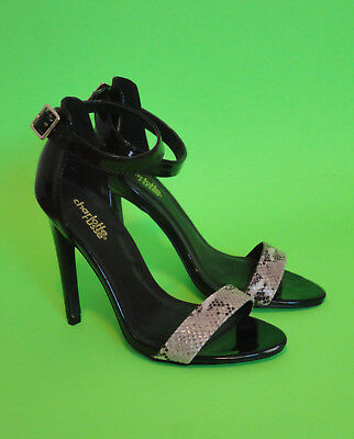 93b78159794 CHARLOTTE RUSSE {SIZE 7} Black Strap Reptile Print High Heel Shoes  EXCELLENT!