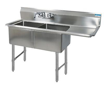 "BK Resources 76""x29.5"" Two Compartment 16 Gauge Stainless Steel Sink"
