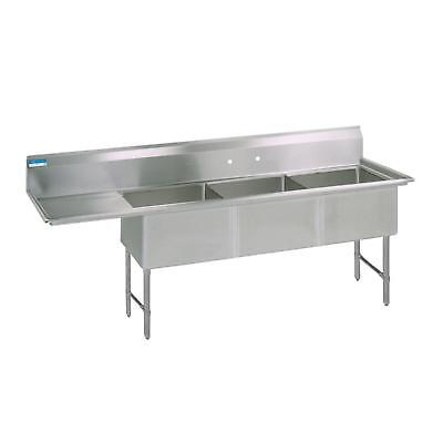 "BK Resources 76""x23.5"" Three Compartment 16 Gauge Stainless Steel Sink"