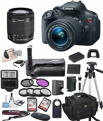 Canon EOS Rebel T5i  + 18-55mm STM Lens + Power Grip + Accessory Bundle