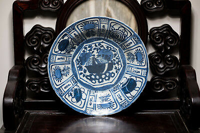 Ming Style Chinese Antique Wanli Period Exported Large Blue and White Dish ETR06