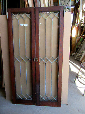 ~ PAIR OF LEADED GLASS CABINET DOORS CHESTNUT  ~ 28 x 52 ~ ARCHITECTURAL SALVAGE