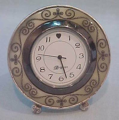 BRIGHTON ETCHED & SCROLLED BEZEL MINI DESK TOP or SHELF CLOCK-NEW BATTERY!