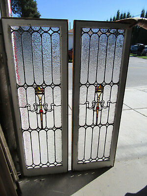 ~ PAIR ANTIQUE STAINED GLASS SIDELITES WINDOWS ~ 19 x 54 EACH ~ SALVAGE ~