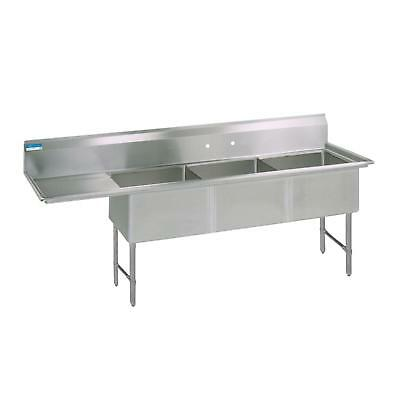 "BK Resources 70""x25.5"" Three Compartment 16 Gauge Stainless Steel Sink"