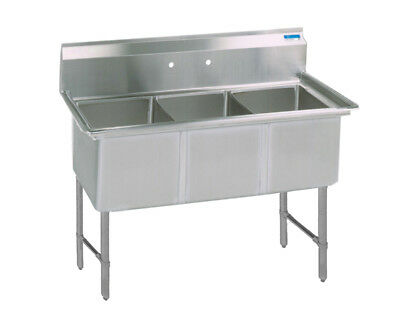 "BK Resources 59""x23.5"" Three Compartment 16 Gauge Stainless Steel Sink"