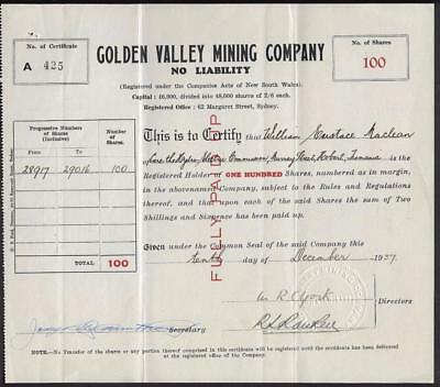 Vintage Golden Valley Mining Company Share Certificate NSW 1937.