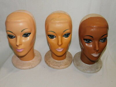 VINTAGE Wig Head with Face Plasti Personalities 1960's or 1970's (set of 3)
