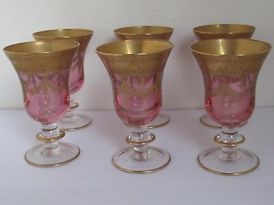 Antique Italian Gold and Iridescent Ruby Glass Goblets 6