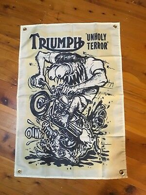 RAT FINK wall hanging Mancave bar flag novelty sign triumph motor bike Biker