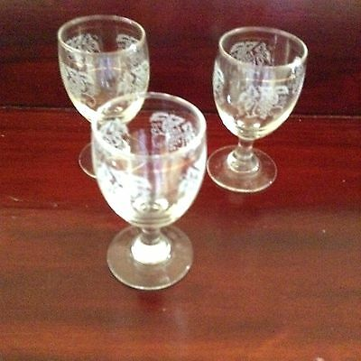 3 X Etched Sherry/ Liquer Glasses