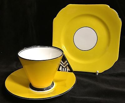 Shelley Art Deco  Vogue Coffee Cup Saucer Plate Chevron Pattern # 11776/31